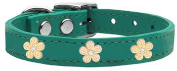 Gold Flower Widget Genuine Leather Dog Collar - Jade Green