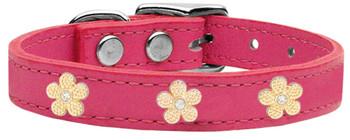 Gold Flower Widget Genuine Leather Dog Collar - Pink