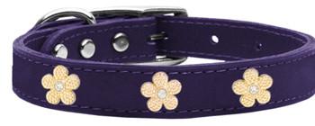 Gold Flower Widget Genuine Leather Dog Collar - Purple