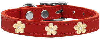 Gold Flower Widget Genuine Leather Dog Collar - Red