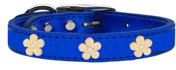 Gold Flower Widget Genuine Metallic Leather Dog Collar - Blue