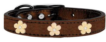 Gold Flower Widget Genuine Metallic Leather Dog Collar - Bronze