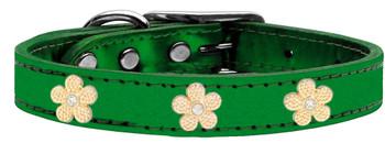 Gold Flower Widget Genuine Metallic Leather Dog Collar - Emerald Green