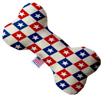 Patriotic Checkered Stars Bone Dog Toy