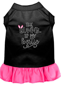Bunny Is My Bestie Screen Print Dog Dress - Black With Bright Pink