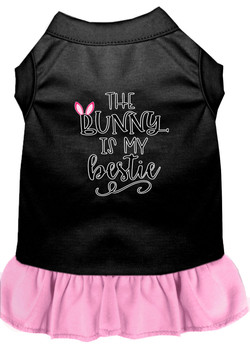 Bunny Is My Bestie Screen Print Dog Dress - Black With Light Pink