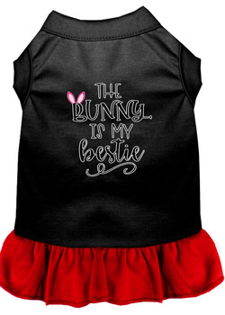 Bunny Is My Bestie Screen Print Dog Dress - Black With Red