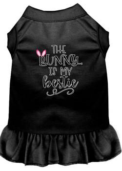 Bunny Is My Bestie Screen Print Dog Dress - Black