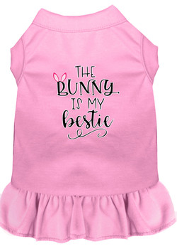 Bunny Is My Bestie Screen Print Dog Dress - Light Pink