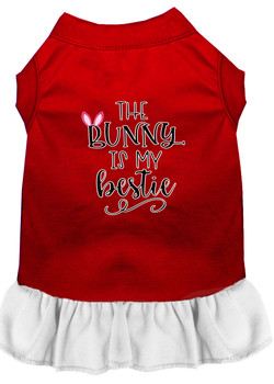 Bunny Is My Bestie Screen Print Dog Dress - Red With White