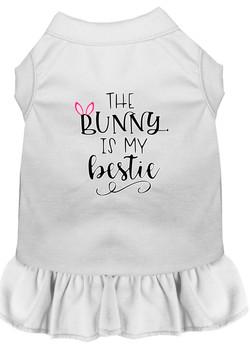 Bunny Is My Bestie Screen Print Dog Dress - White