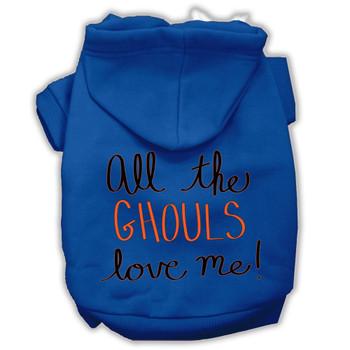 All The Ghouls Screenprint Dog Hoodie - Blue