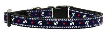 Anchors Nylon Ribbon Dog Collar - Blue