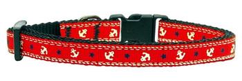 Anchors Nylon Ribbon Dog Collar - Red