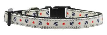 Anchors Nylon Ribbon Dog Collar - White