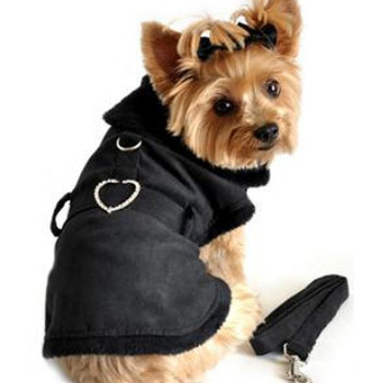 Black Faux Suede Fur Lined Dog Coat w/ Rhinestone Heart Buckle & Leash