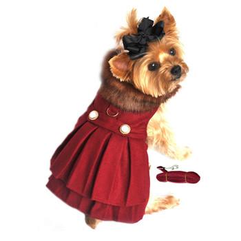 Burgundy Wool Fur Collar Harness Dog Coat & Leash