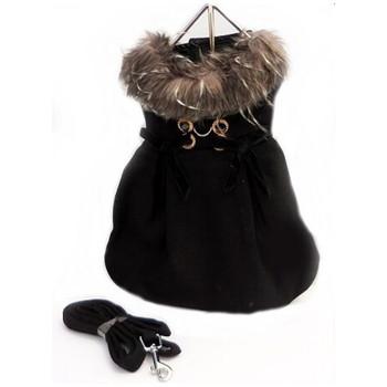 Black Wool w/ Silver Fur Collar Harness Dog Coat & Leash