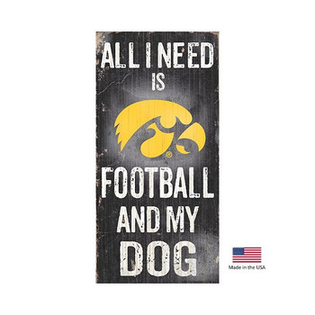 Iowa Hawkeyes Distressed Football And My Dog Sign
