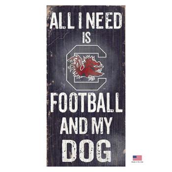 South Carolina Gamecocks Distressed Football And My Dog Sign