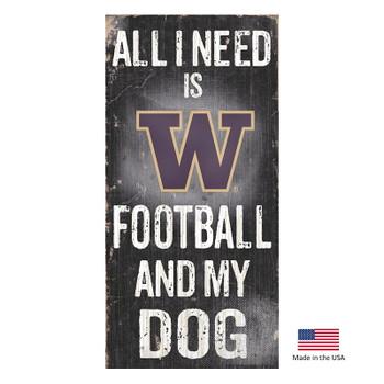 Washington Huskies Distressed Football And My Dog Sign
