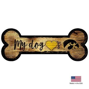 Iowa Hawkeyes Distressed Dog Bone Wooden Sign