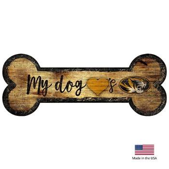Missouri Tigers Distressed Dog Bone Wooden Sign