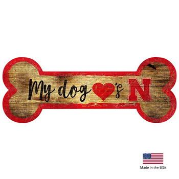 Nebraska Huskers Distressed Dog Bone Wooden Sign