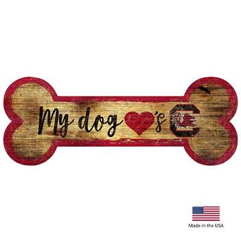 South Carolina Gamecocks Distressed Dog Bone Wooden Sign