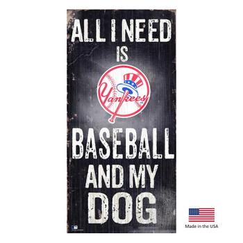 New York Yankees Distressed Baseball And My Dog Sign