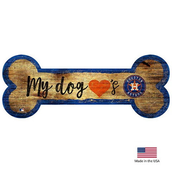 Houston Astros Distressed Dog Bone Wooden Sign