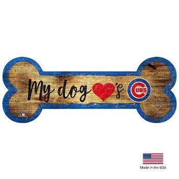 Chicago Cubs Distressed Dog Bone Wooden Sign