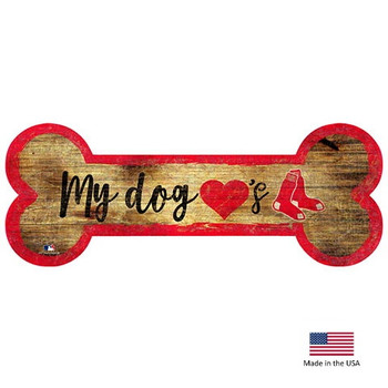 Boston Red Sox Distressed Dog Bone Wooden Sign