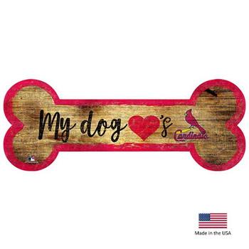 St. Louis Cardinals Distressed Dog Bone Wooden Sign