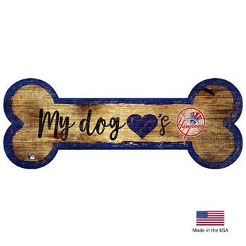 New York Yankees Distressed Dog Bone Wooden Sign