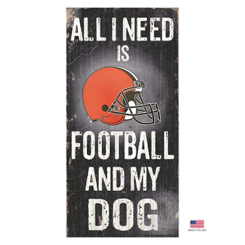 Cleveland Browns Distressed Football And My Dog Sign