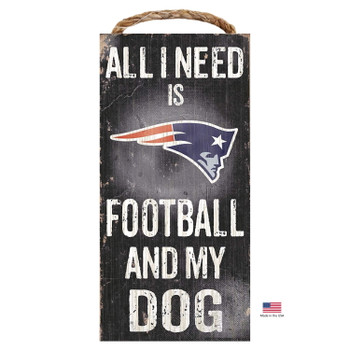 New England Patriots Distressed Football And My Dog Sign