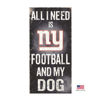 New York Giants Distressed Football And My Dog Sign