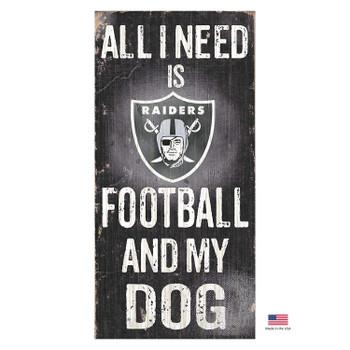 Las Vegas Raiders Distressed Football And My Dog Sign