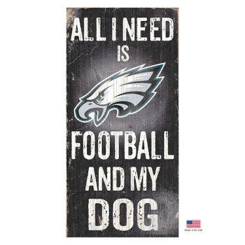 Philadelphia Eagles Distressed Football And My Dog Sign