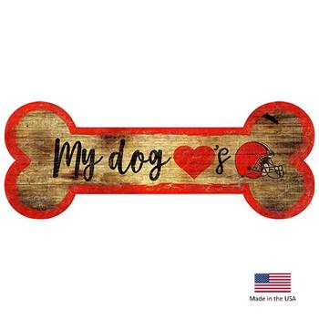 Cleveland Browns Distressed Dog Bone Wooden Sign
