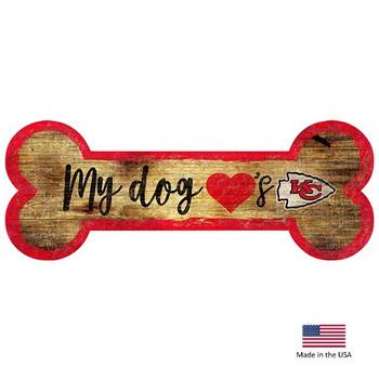 Kansas City Chiefs Distressed Dog Bone Wooden Sign