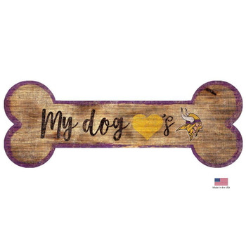 Minnesota Vikings Distressed Dog Bone Wooden Sign