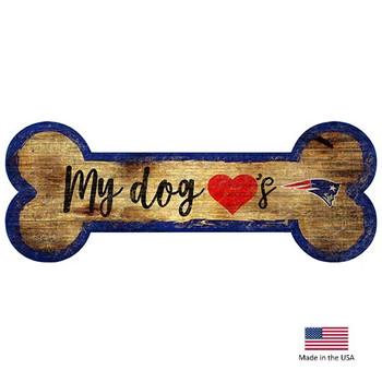 New England Patriots Distressed Dog Bone Wooden Sign