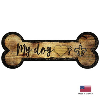 New Orleans Saints Distressed Dog Bone Wooden Sign