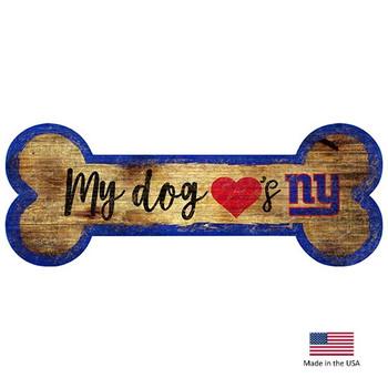 New York Giants Distressed Dog Bone Wooden Sign