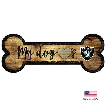 Las Vegas Raiders Distressed Dog Bone Wooden Sign