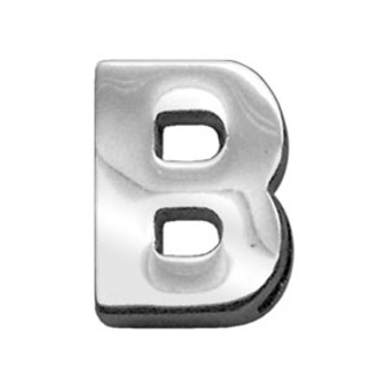 """3/4"""" (18mm) Chrome Letter Sliding Charms B"""