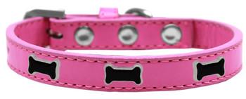 Black Bone Widget Dog Collar - Bright Pink