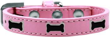 Black Bone Widget Dog Collar - Light Pink